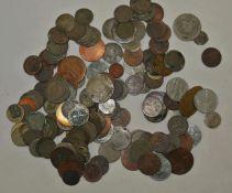 Kleines Lot alte Münzen, meist um 1800-1900, stark berieben, dabei auch etwas Silber. Small lot