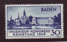 Alliierte Besetzung franz. Zone 1949, Mi. - Nr. 46 II. Postfrisch. Mit Fotoattest Straub 15.9.