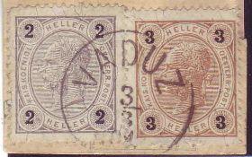 Lichtenstein 1899, Vorläufer auf Briefstück mit 2 Heller grau und 3 Heller hellbraun 1899. Mit