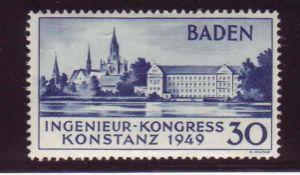 Alliierte Besetzung franz. Zone Baden 1949, Mi. - Nr. 46 I und 46 II. Nr. 46 II geprüft Schlegel.