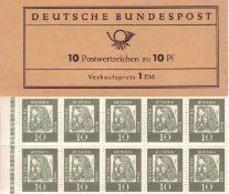 BRD 1961, Markenheftchen Mi. - Nr. MH 7a II. Federal Republic of Germany 1961, Markenheftchen Michel