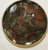 Kleines Lot alte Münzen, meist um 1800-1900, stark berieben, dabei auch Silber. Small lot old coins,