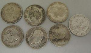 Lot Münzen Österreich, 1 Florin/Gulden insgesamt 7 Stück, dabei 1x 1860, 1x 1861, 2x 1878, 1x 1886