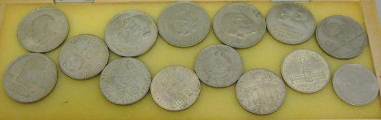 kleines Lot DDR Münzen von 5-20 Mark Stücke, insgesamt 14 Stück