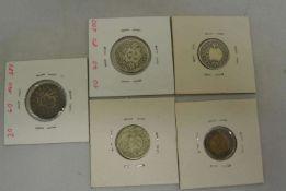 1 Lot schweizer Münzen, dabei 1x 20 Rappen 1850 BB, 2x 10 Rappen 1850 BB, 1x 20 Rappen 1858 B, sowie