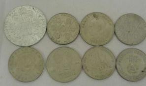 schönes Lot von 3x20 Mark, 4x 10 Mark DDR, sowie 1 Silber Theresien-Thaler. Gewicht ca. 28 gr
