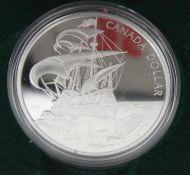 """Canada Silber Dollar """"400 Jahre franz. Besiedlung in PP mit Zertifikat im Etui. Canada Silver Dollar"""