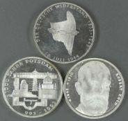 """BRD, Lot 10.- DM - Silbermünzen, bestehend aus: 1993 """"Robert Koch"""", 1993 """"1000 Jahre Potsdam"""","""