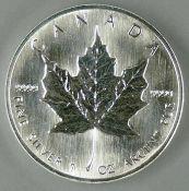"""Kanada 1994, 5.- Dollar - Silbermünze """"Maple Leaf"""". Silber 999, Gewicht: 1 oz. Mit Zertifikat."""