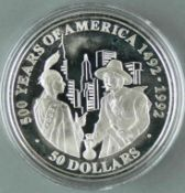 """Cook Islands 1991, 50.- Dollars - Silbermünze """"500 Jahre Entdeckung von Amerika - Peter Minuit"""