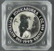 """Australien 1993, 1 Dollar - Silbermünze """" Kookaburra"""". Silber 999. Gewicht: 31,1 g. Durchmesser:"""