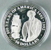 """Cook Islands 1990, 50.- Dollars - Silbermünze """"500 Jahre Entdeckung von Amerika - Walter Raleigh -"""