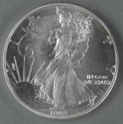 """USA 1992, 1.- Dollar - Silbermünze, """"schreitende Liberty"""", Silber 999, Gewicht: 1 oz.,"""