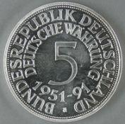 5.- DM - Silbermünze 1991. Silber 999. Gewicht: 1 Unze, Durchmesser: ca. 40 mm. Mit Zertifikat.