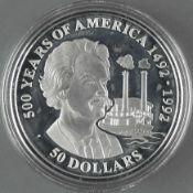"""Cook Islands 1990, 50.- Dollars - Silbermünze """"500 Jahre Entdeckung von Amerika - Mark Twain and"""
