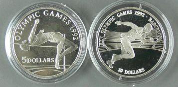 """Cook Islands 1990/92, zwei Silbermünzen """"Olympische Spiel in Barcelona"""", 1 x 5.- Dollars und 1 x"""