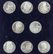 UDSSR 1989/91, Set ein Rubel - Gedenkmünzen. Im Etui.