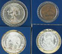 Mexico 1962 - 78, Lot aus vier Münzen, bestehend aus: 1. 1978 100 Pesos - Silbermünze, 1968 25 Pesos