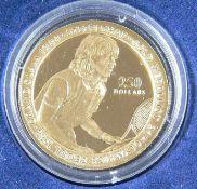 """Niue 1989, 250 Dollar - Goldmünze """"Steffi Graf"""". Gold 916,6, Gewicht: ca. 10,4 g. Durchmesser: 27"""