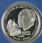 "Panama 1988, 1 VN Balnoa - Silbermünze ""Martin Luther King"". Erhaltung: PP. Im Blister."