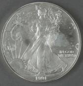 """USA 1991, 1.- Dollar - Silbermünze, """"schreitende Liberty"""", Silber 999, Gewicht: 1 oz.,"""