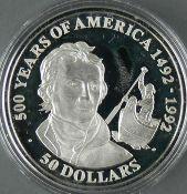 """Cook Islands 1991, 50.- Dollars - Silbermünze """"500 Jahre Entdeckung von Amerika - Alexander"""