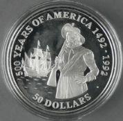 """Cook Islands 1990, 50.- Dollars - Silbermünze """"500 Jahre Entdeckung von Amerika - Henry Hudson"""