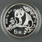 "China 1993, 5.- Yuan - Silbermünze ""Panda"". Gewicht: 1/2 oz. Silber 999. In Kapsel mit Zertifikat."