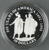 """Cook Islands 1990, 50.- Dollars - Silbermünze """"500 Jahre Entdeckung von Amerika - Hernando Cortez"""