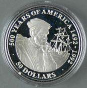 """Cook Islands 1990, 50.- Dollars - Silbermünze """"500 Jahre Entdeckung von Amerika - Jacques Cartier"""
