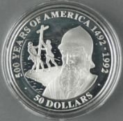 """Cook Islands 1990, 50.- Dollars - Silbermünze """"500 Jahre Entdeckung von Amerika - Pedro Alvares"""