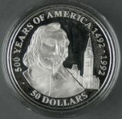 """Cook Islands 1990, 50.- Dollars - Silbermünze """"500 Jahre Entdeckung von Amerika - French Canadian"""