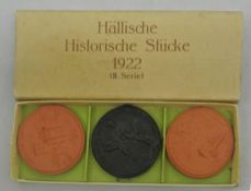 3 Porzellanmedaillen, 2. Serie, 1922, Schwäbisch Hall, Hällische Historische Stücke mit