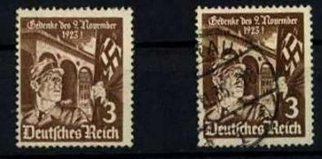 Deutsches Reich 1935, 2 Marken, MiNr. 598y, gestempelt German empire in 1935, 2 brands, MiNr.