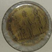 Medaille / Jeton Hanau 1813, Messing (von Lauer) a.d. letzte Schlacht der Aliierten gegen die