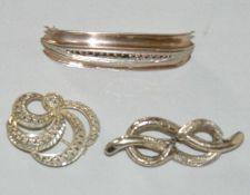 3 Silberbroschen, verschiedene Modelle, Gewicht ca. 14 gr
