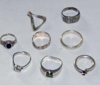 Konvolut Silberringe, insgesamt 8 Stück, verschiedene Modelle, Gewicht ca. 34 gr