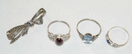 Konvolut Silberschmuck, bestehend aus 3 Ringen, 1x besetzt mit Aquamarin,, 1x besetzt mit