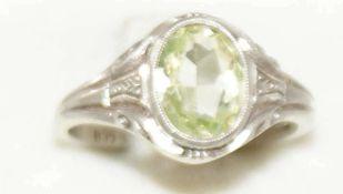 Damenring, 835er Silber, besetzt mit Bergkristall. Ringgröße 56