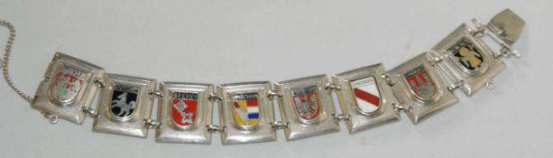 Armband, 835er Silber, verziert mit Stadt-Wappen, z.B. Bremen, Stuttgart, etc. Länge ca. 17 cm.