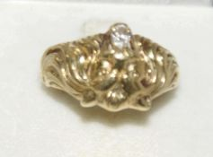 """Herrenring, 585er Gelbgold, Handarbeit. """"Löwenkopf im Maul 1 Zirkonia"""", Ringgröße 57, Gewicht ca."""