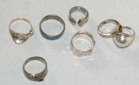 Konvolut Ringe, Silber, insgesamt 7 Stück. Gewicht ca. 43 gr