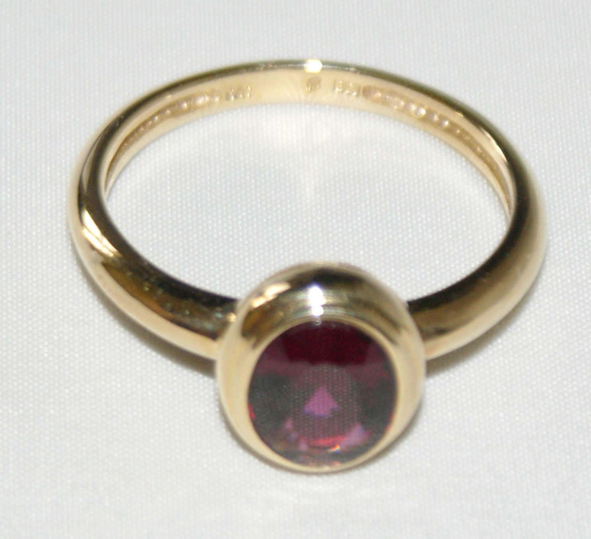 Damenring, 750er Gelbgold, besetzt mit 1 Amethyst, Ringgröße 66, Gewicht ca. 4,1 gr - Bild 2 aus 2