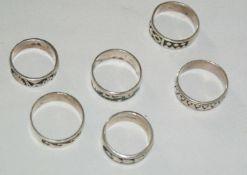 Konvolut Ringe, Silber, insgesamt 6 Stück, verschiedene Modelle, Gewicht ca. 28 gr