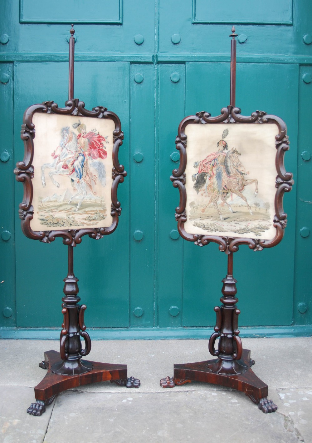 Lot 11A - A pair of William IV rosewood pole screens, with adjustable rectangular needle and bead work