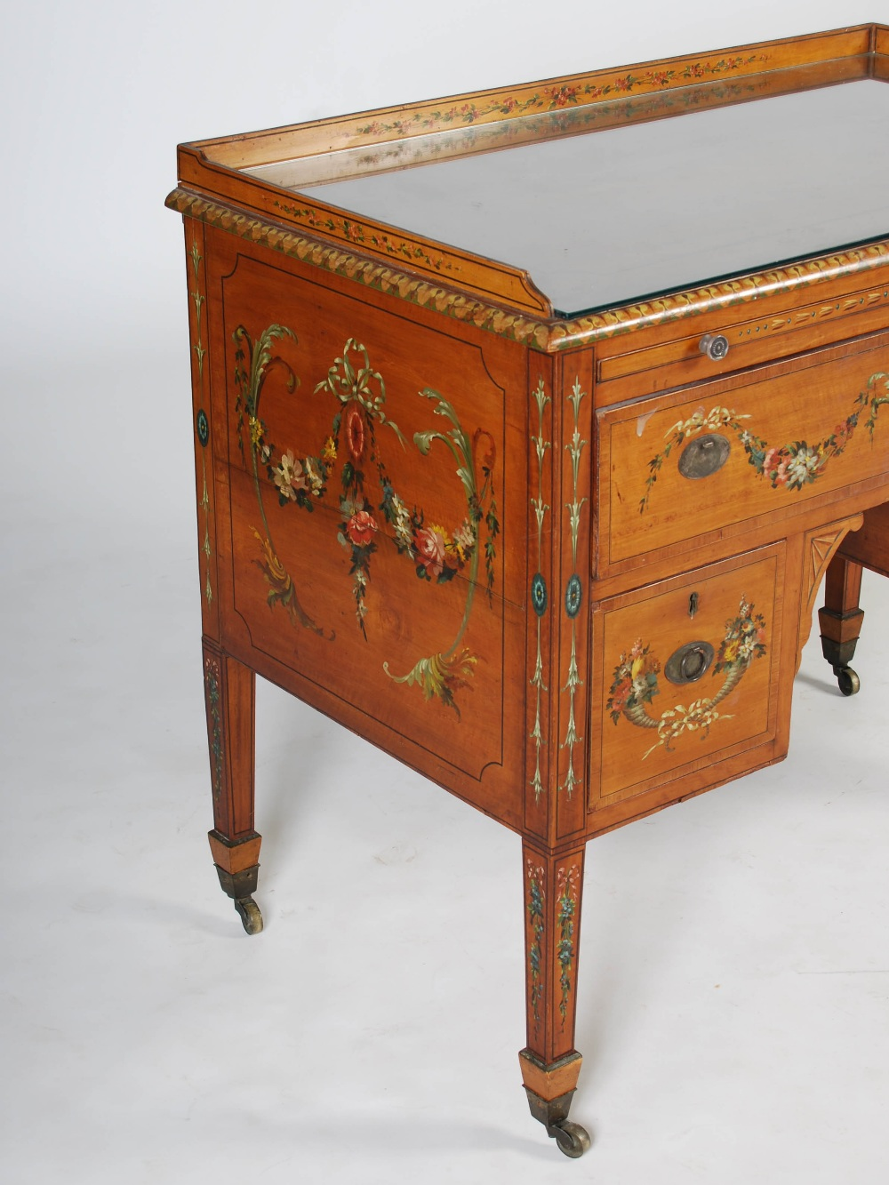Lot 14 - A 19th century painted satinwood wash stand, the rectangular top with three quarter gallery above