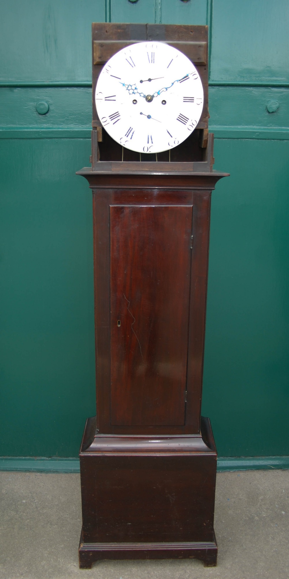 Lot 7 - A George III mahogany longcase clock of small proportion, John Hamilton, Glasgow, the circular