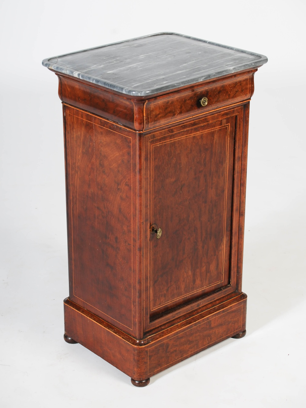 Lot 32 - A 19th century French mahogany and boxwood lined marble top bedside cupboard, the grey and white