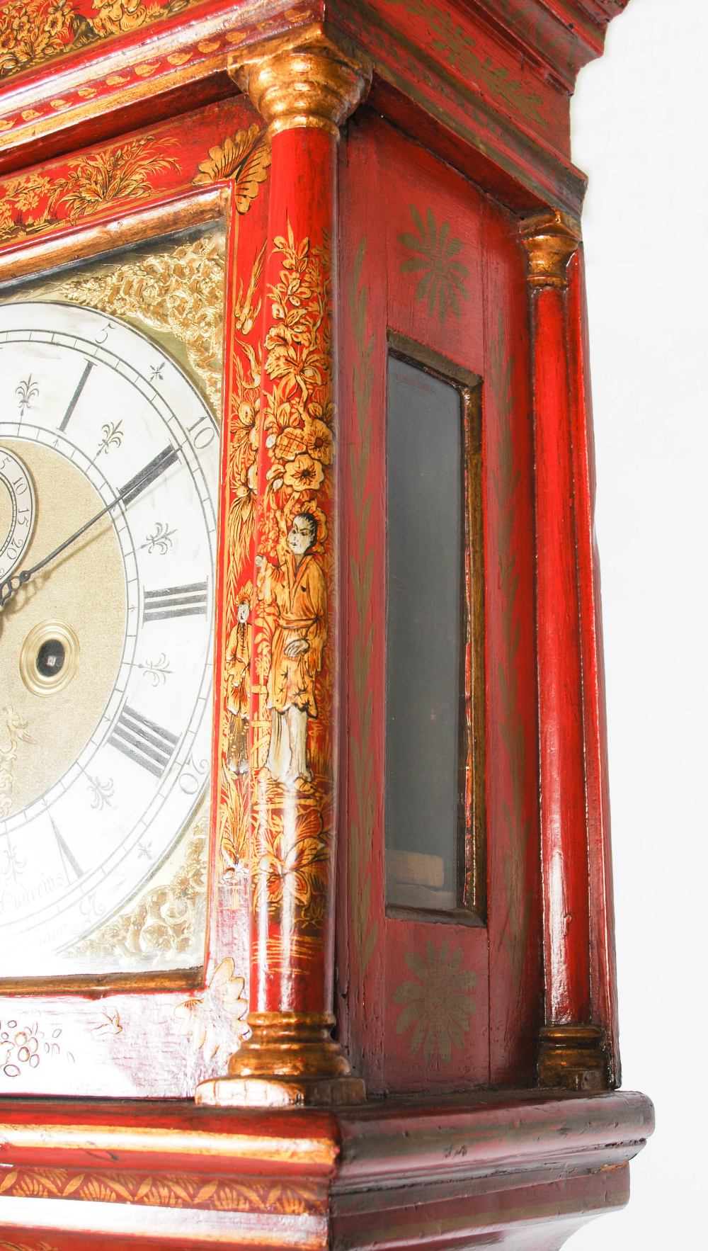 Lot 3 - A late 17th/ early 18th century red lacquered longcase clock, John Andrews, Leadenhall Street,