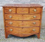 Lot 11D - A George III mahogany and boxwood lined serpentine chest, the shaped top above three short and three